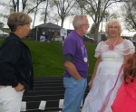 Cheryl and Dick Olmstead visiting with Dee Graeber Patterson